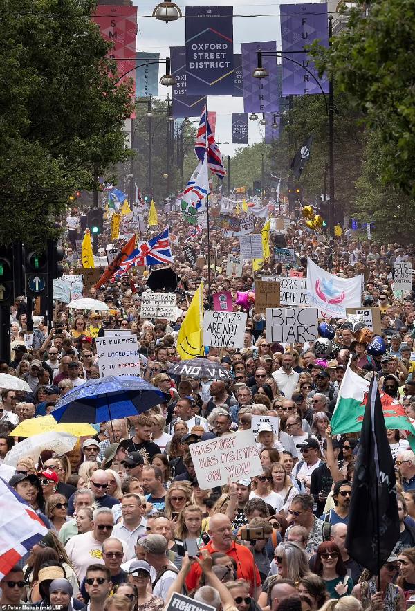 Proteste masive în Londra împotriva restricțiilor. Cea mai mare demonstrație de până acum